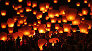 Wishes released in the form of lanterns in Pingxi