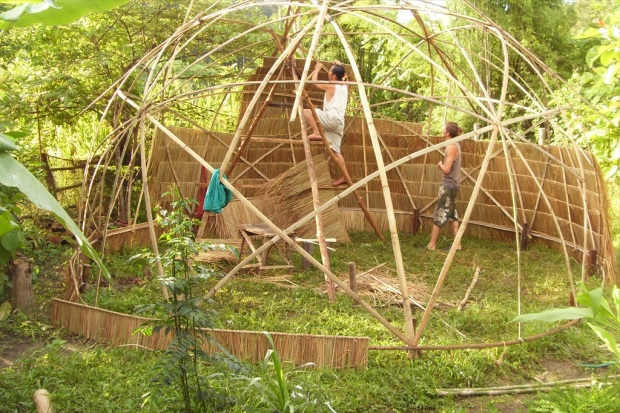 Past volunteers helping build a bamboo hut in Thailand