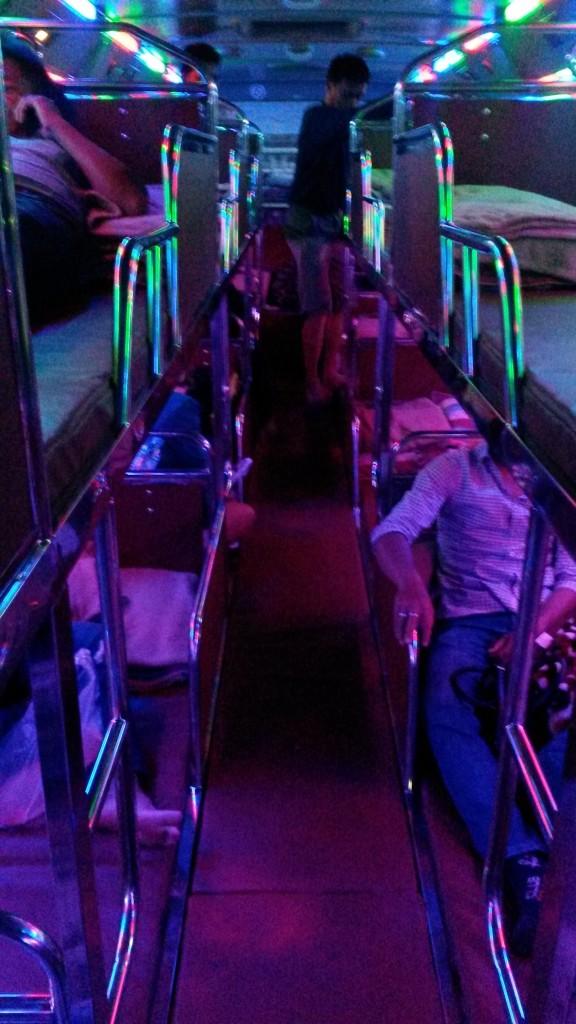 Overnight sleeper bus in Laos