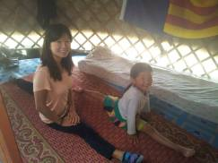 Showing my CouchSurfing sister some gymnastics in Mongolia