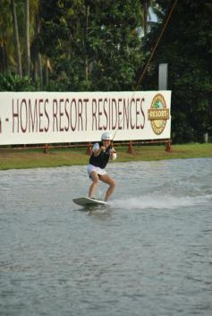 Wakeboarding in Davao, Philippines. My legs hurt the next day but it was good fun!