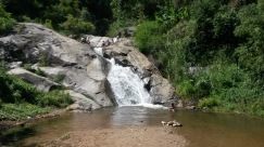 Mo Paeng Waterfall, Pai. Easy to get here via motorbike. Take a dip but be careful about sliding down waterfalls!