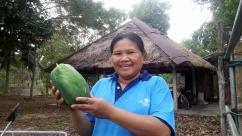 Sula with a green papaya to make a delicious salad!