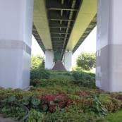 Even areas under overpasses are manicured