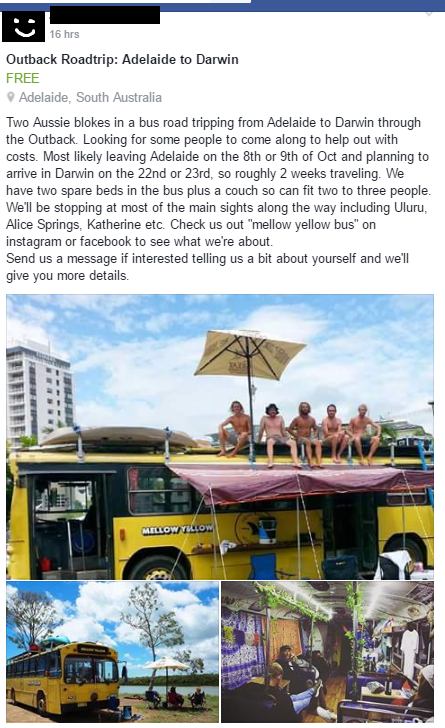 Australia road trip lift offer
