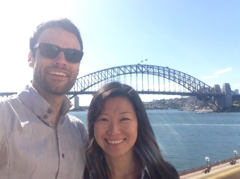 Adam and Lianne at the Harbour Bridge after an interview!
